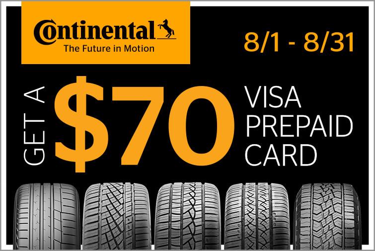Continental $70 Visa Prepaid Card