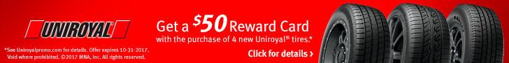 Uniroyal $50 Rebate Card